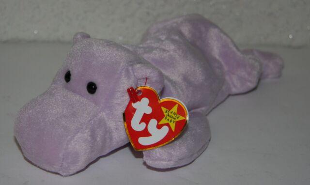 Ty Beanie Baby Happy Purple Hippo Hippopotamus With Tags Beanie Babies-original