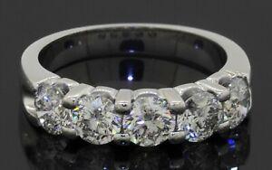 Heavy 14K white gold elegant 2.50CTW diamond 5-stone band ring size 7