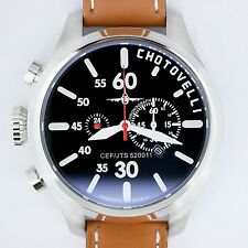 Chotovelli Mens Aviator Pilot Watch Chronograph Dial Italian Brown leather 52.11