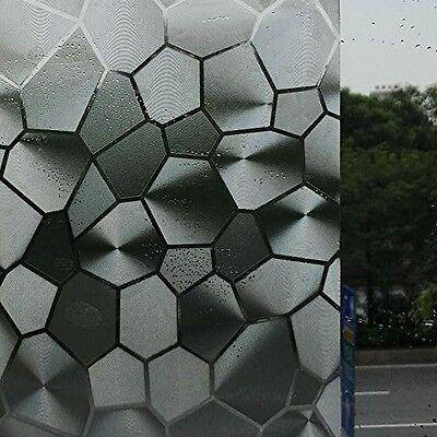 Abahub Window Film 3D No Glue Static Decorative Privacy Stained Glass Window X