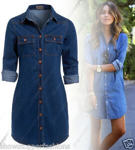 NEW-Womens-Longline-Denim-Shirt-Dress-Ladies-Jean-Dresses-Size-6-8-10-12-14-Blue