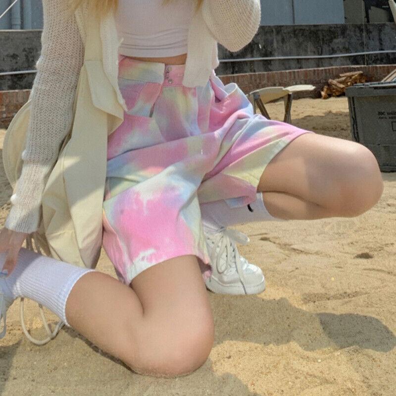 Damen Shorts Halbe Hose Denim Regenbogen Batik Gerade Breit Bein Locker Sommer