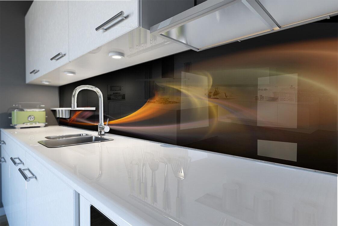 Cuisine Mur arrière anti-projections Cuisine Verre Trempé abstrait Orange courbes noir