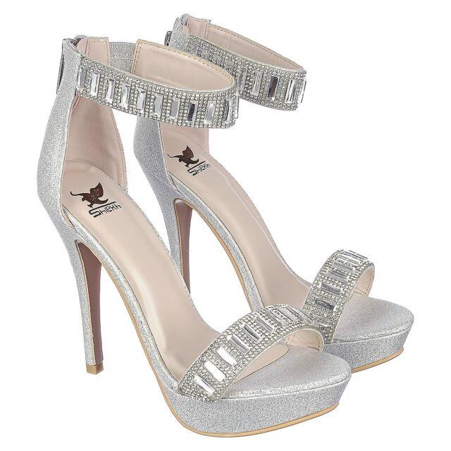 4e0e3bb3c6 Brielle Silver Gem Clear Heels : Simmi Shoes. Rhinestone & Gem Ankle Strap Stiletto  High HEELS Platform PUMPS Sandals Size H13 Silver 6   eBay