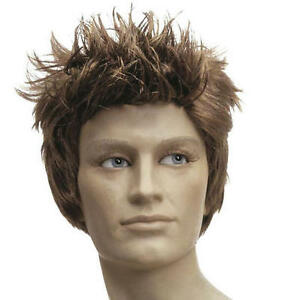 Image is loading Mens-Brown-Spikey-Quiff-Wig-Australian-Boyband-Elvis- 374df59da