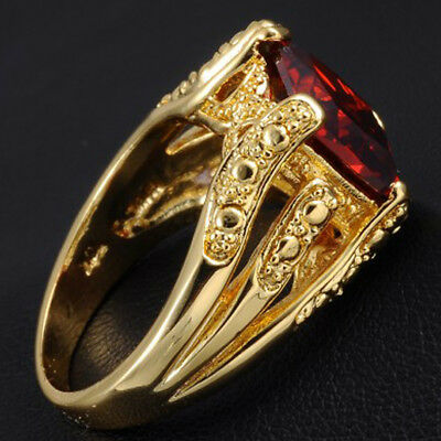 Sz 10 Mens Handmade 18K Yellow Gold Filled Birthstone Wedding Garnet Claw Ring