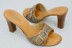 Coach Womens Daryn Mule High Heels Slip On Open Toe Sandals Shoes Size 8B Beige