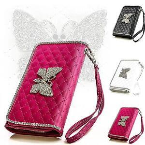 Schmetterling-Strass-Handy-Tasche-Schutz-Hulle-Flip-Cover-Klapp-Etui-Case-Schale