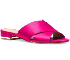 NIB-Size-8-Michael-Kors-Shelly-Ultra-Pink-Satin-Flat-Sandal-Slide