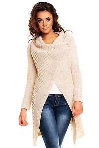 Details zu Damen Strickjacke Cardigan Poncho 1 Knopf Verschluss 36 38 Mantel Jacke Pullover