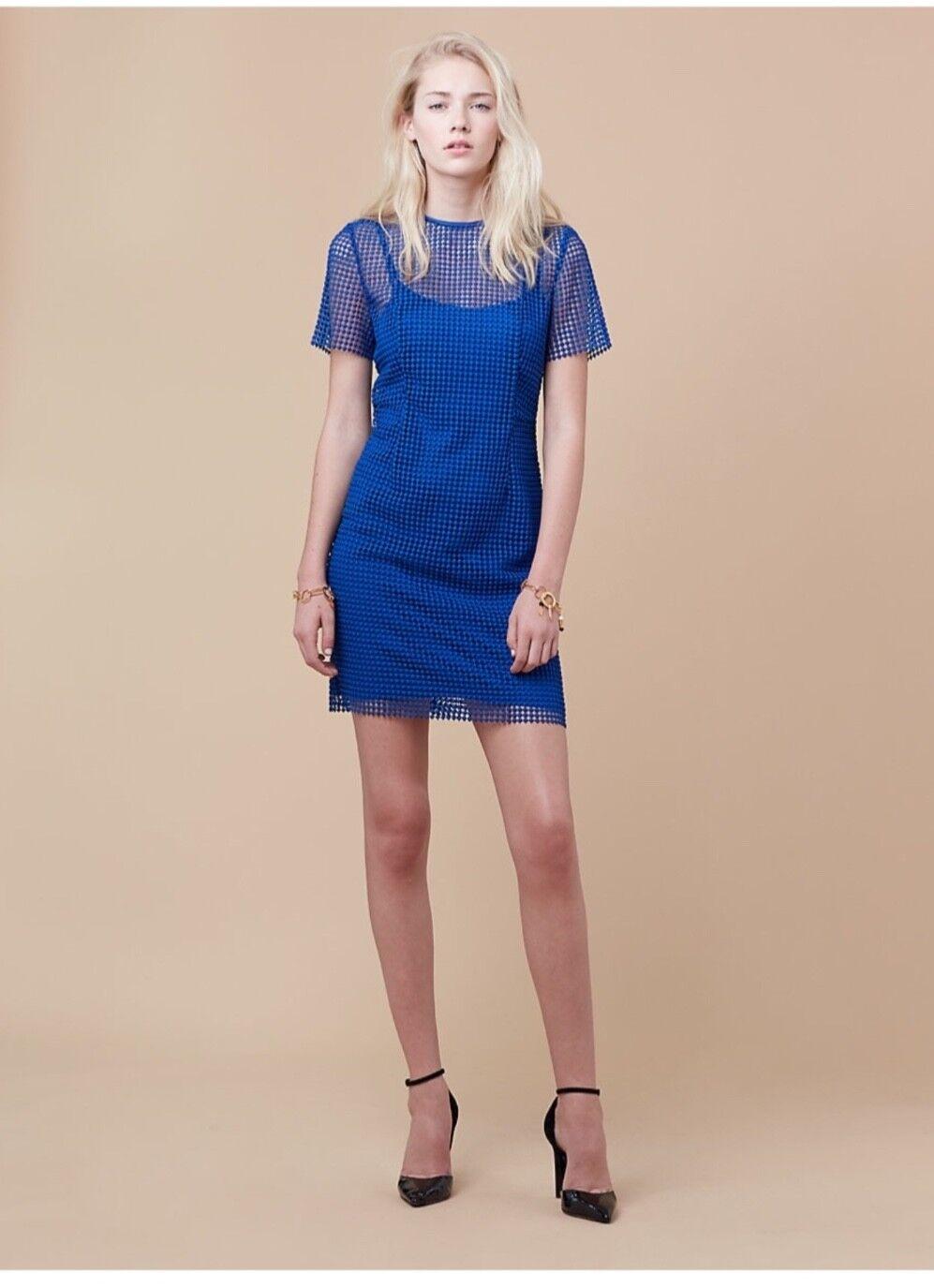 NWT Diane Von Furstenburg Chain Lace Dress in Blau - Größe 2 Retails
