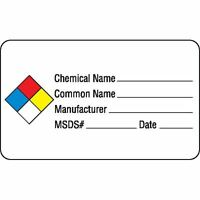 Chemical Hazard Labels Chemical / Common Name Manufacturer Msds Date 250 Pk