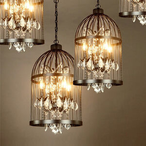 Details About Vintage Birdcage Crystal Chandeliers Hanging Pendant Lamp Ceiling Light Fixtures