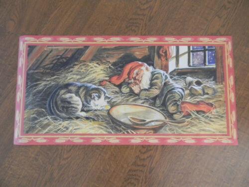 Scandinavian Swedish Christmas Poster Print Jenny Nystrom Tomte Cat Asleep #106