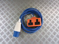 5 METRE 16 AMP BLUE 230V 240V GENERATOR TO TWIN 13A SOCKET HOOK UP LEAD CABLE