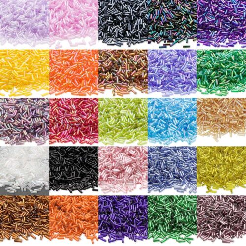 Huge 1 Pound Lot of 12,000 Economical 1/4 inch 6mm Glass Bugle Tube Seed Beads