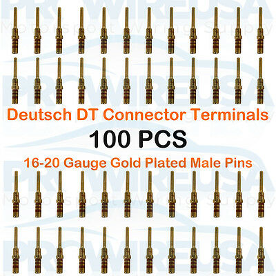25 PCS 14AWG GOLD PLATED Deutsch Terminals 0460-215-1631 Size 16