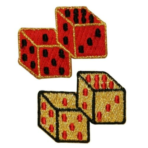 ID 0057GH Set of 2 Pair of Dice Patch Casino Vegas Embroidered Iron On Applique