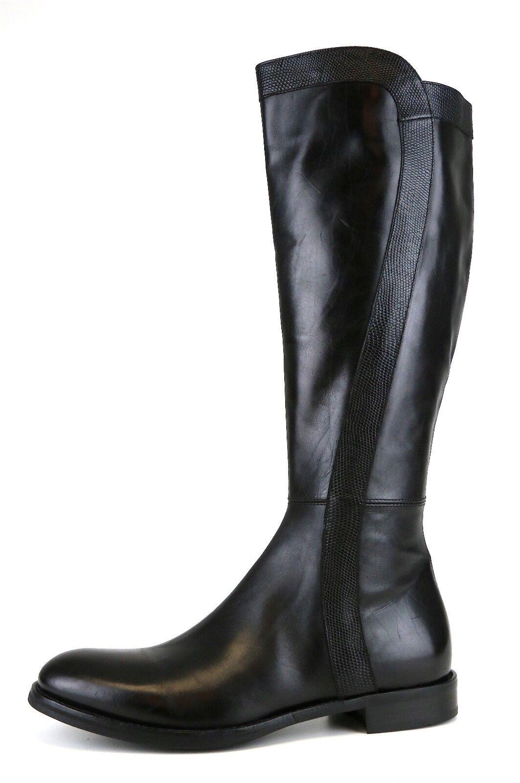 AGL Tall Leather Side Zipper Boot Black Women Sz 40 *