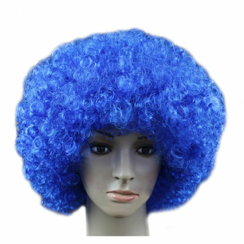 80s CURLY AFRO WIGS MULTI COLOR PARTY CLOWN FUNKY DISCO WOMENS MENS HAIR WIGS