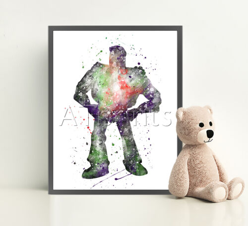 TOY STORY Poster Print Watercolor Framed Canvas Wall Art Nursery Disney BUZZ