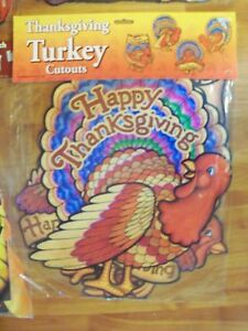 "1997 Beistle 4 Asst 16"" Cutouts 2 Sided Cartoon Turkey Thanksgiving Decorations"