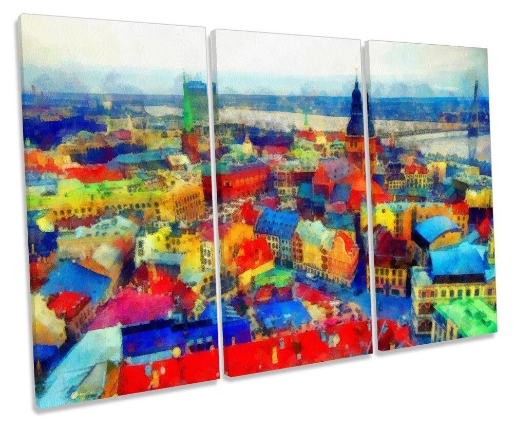 Cityscape City Watercolour Repro Repro Repro Framed TREBLE CANVAS PRINT Wall Art 997a95