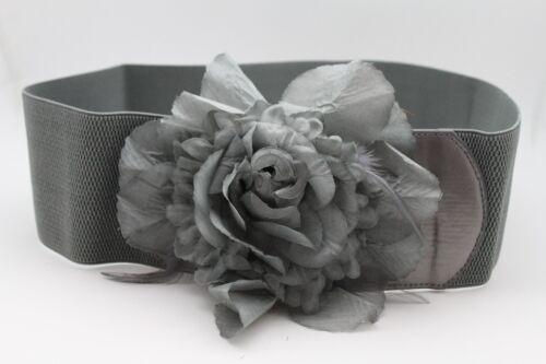 Women Stretch Wide Hip Waist Belt Flower Grey Black Gold Silver Buckle M L XL