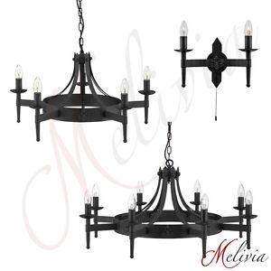 lustre-applique-murale-fer-massif-noir-Lampe-suspendue-Lustre-rustique