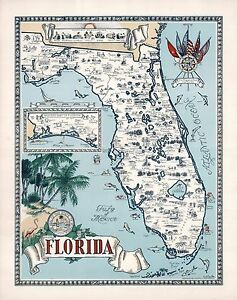 1953-FLORIDA-pictorial-map-historic-buildings-places-interest-fish-POSTER-8692