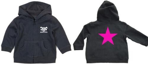 Pink Star zipped Hoodie kapu-ZIP Baby Black
