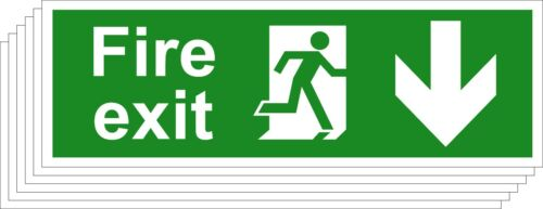 1,5 Running Man Arrow Down Fire Exit Safety Signs Various Sizes Available