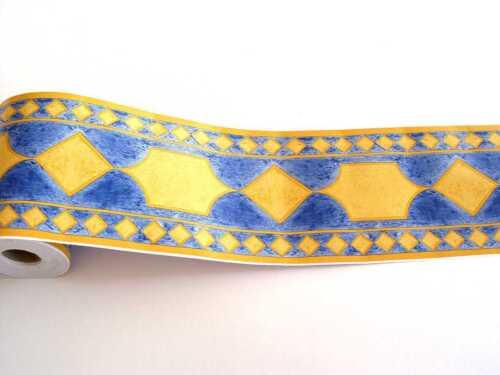3x Bordure auto-adhésif 10,6cmx10m bleu//jaune romba f2732029 3 Passementeries