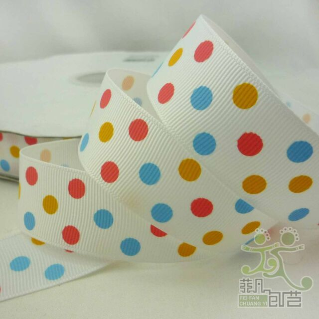 """1""""(25mm) White Colorful Dots Yellow Blue Pink Grosgrain Ribbon Craft Bow 2 Yard"""