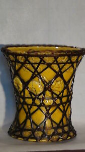 ANTIQUE-CHINESE-TANG-DYNASTY-MONOCHROME-POTTERY-YELLOW-GLAZE-STRAW-DRAGON-VASE