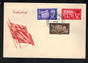 1955-East-Germany-DDR-First-Day-Cover-FDC-Thalman-Luxemburg-Mehring-Communists