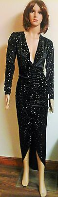 WOMENS LADIES GLITTER RUCHED PLUNGE COWL V NECK DRAPES LONG MAXI BODYCON DRESS