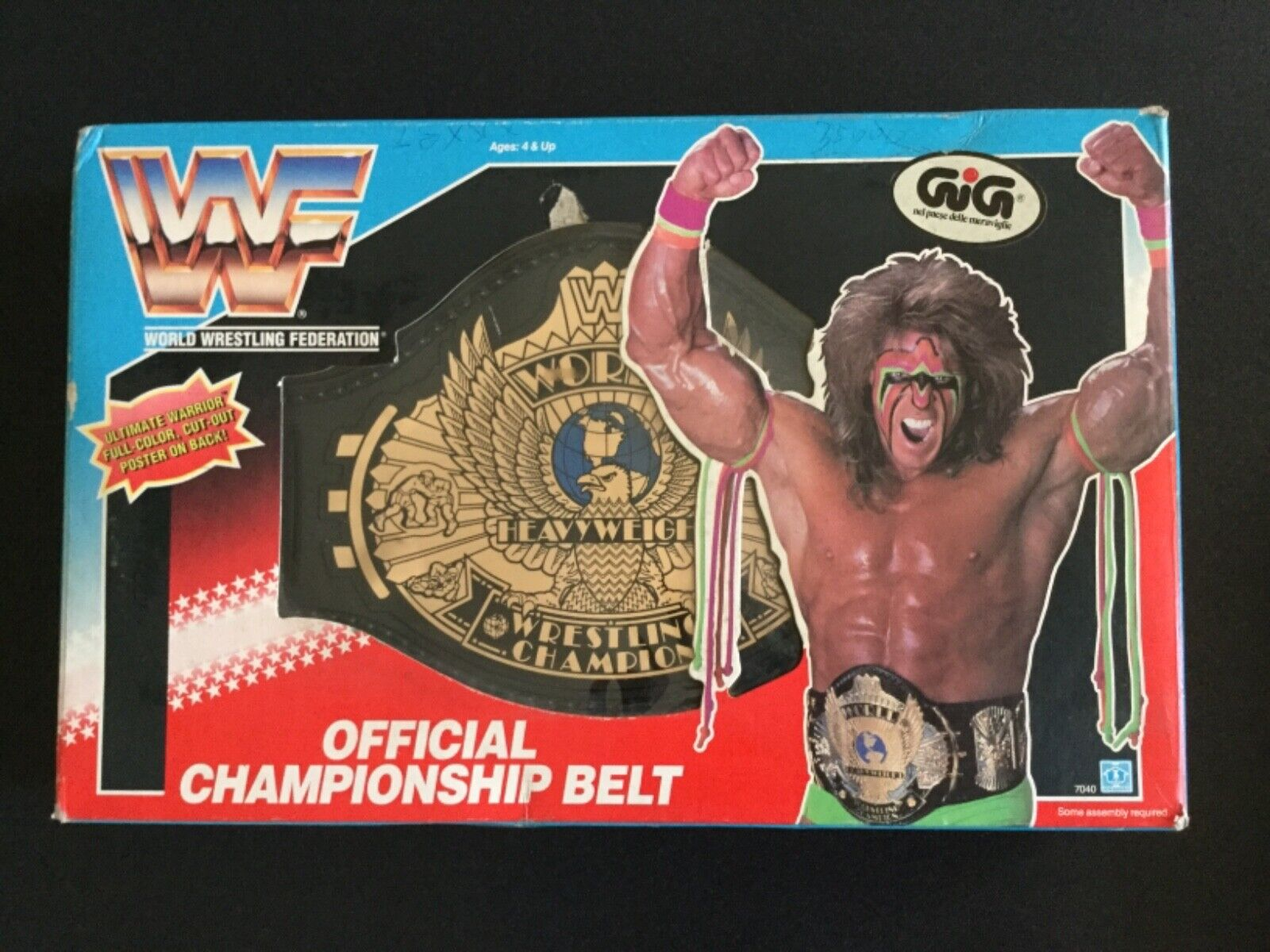 garantizado WWE WWF 90s Hasbro Championship Belt Belt Belt Ultimate Warrior New in Box very rare  nueva marca