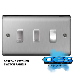 BG Bespoke 3 Gang Gridswitch Kitchen Switch Panel Brushed Steel//Satin Chrome