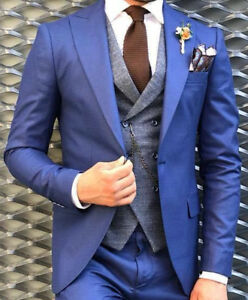 Slim Designer Herenpak Fit Militair Blazer Getailleerd 54 Blue Business Vest ARjL34q5