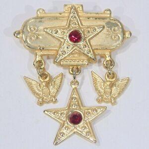 Vintage-Victorian-revival-USA-patriotic-stars-eagles-pin-brooch-goldtone-dangles
