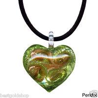 Eternally Haute Peridot Platino Murano Glass Heart Pure Platinum Silk Cord