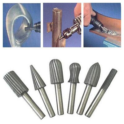 "6pcs 6mm 1/4"" Rotary Burr Set HSS Rotary Files For Metal Plastic Wood Grinding"