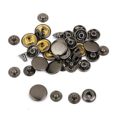 10 Sets Leather Craft Rapid Rivet Button METAL Snaps Fasteners Black 15mm