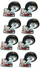 8 Pack 3 Swivel Caster Wheels Rubber Base With Top Plate Amp Bearing Heavy Duty