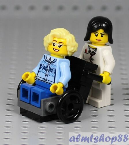 LEGO Grandmother /& Nurse Minifigures in Wheelchair Grandma Female City Town