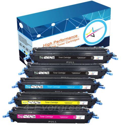 5 PK Toner Q6000A Q6003A 124A Fits HP Color Laserjet 2605dn 2600n 1015 1017 mfp