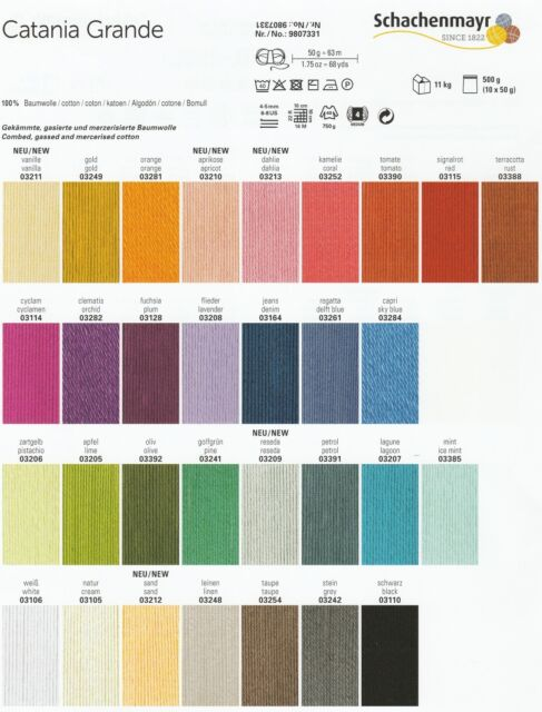 Schachenmayr CATANIA GRANDE - Baumwollgarn, 100% Baumwolle Strickwolle Häkelgarn