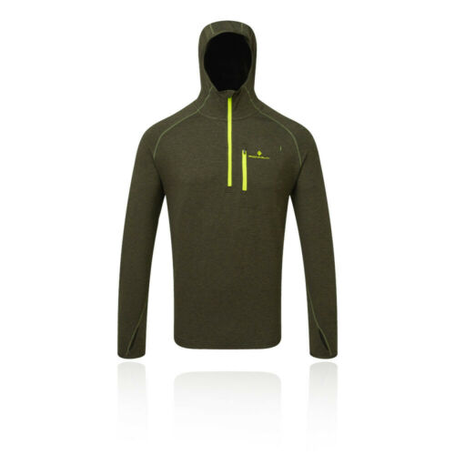 RonHill Mens Momentum Workout Hoodie Green Sports Running Breathable Reflective