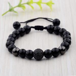 Fashion Men's Brillant Zircon Micro Pave Pierre Naturelle Noir Ronde De Perles Bracelet-afficher Le Titre D'origine
